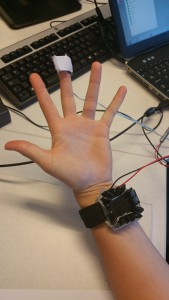 First participant all set for the experiment! Finger thermometer by Cor Stoof, Digital thermoregulating bracelet by Robin van Emden