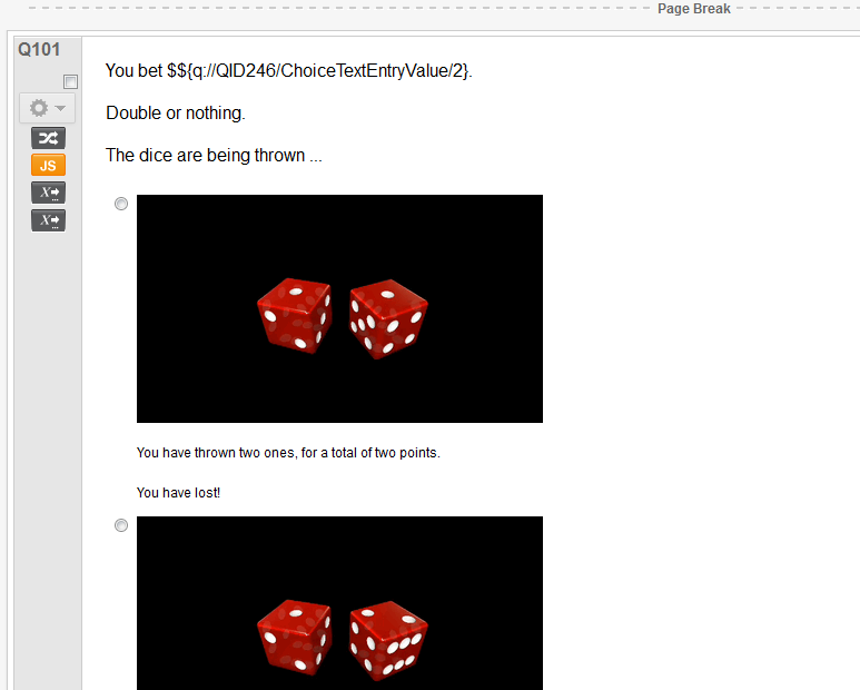 Animated dice - in a Qualtrics Multiple Choice Question